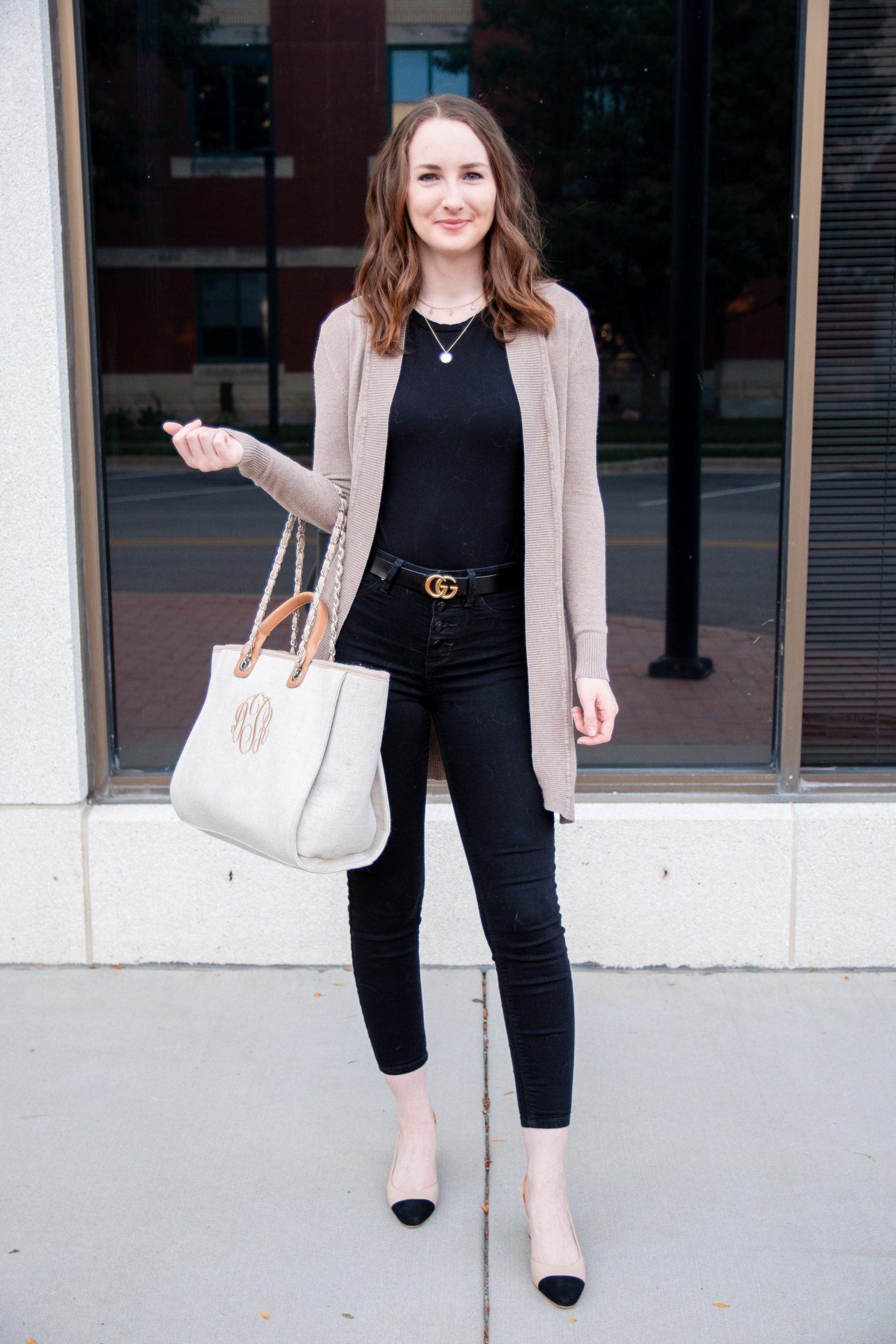 fall transitional outfit round up black on black tan cargigan