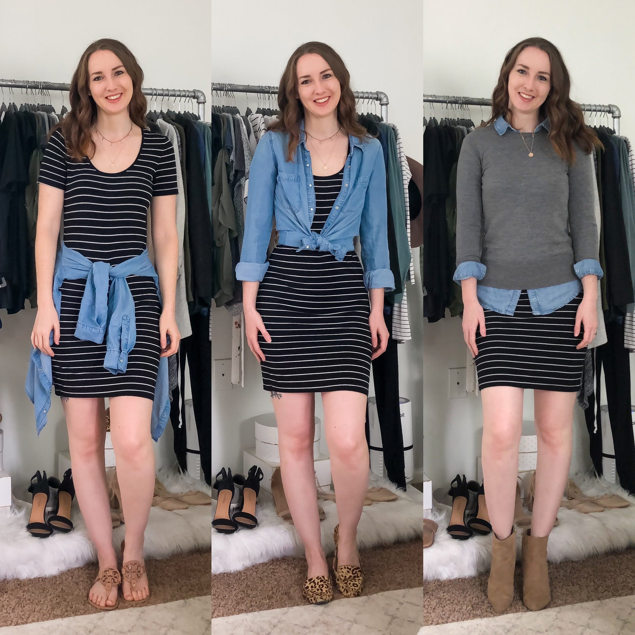 fall transitional outfit round up black and white striped dress outfits