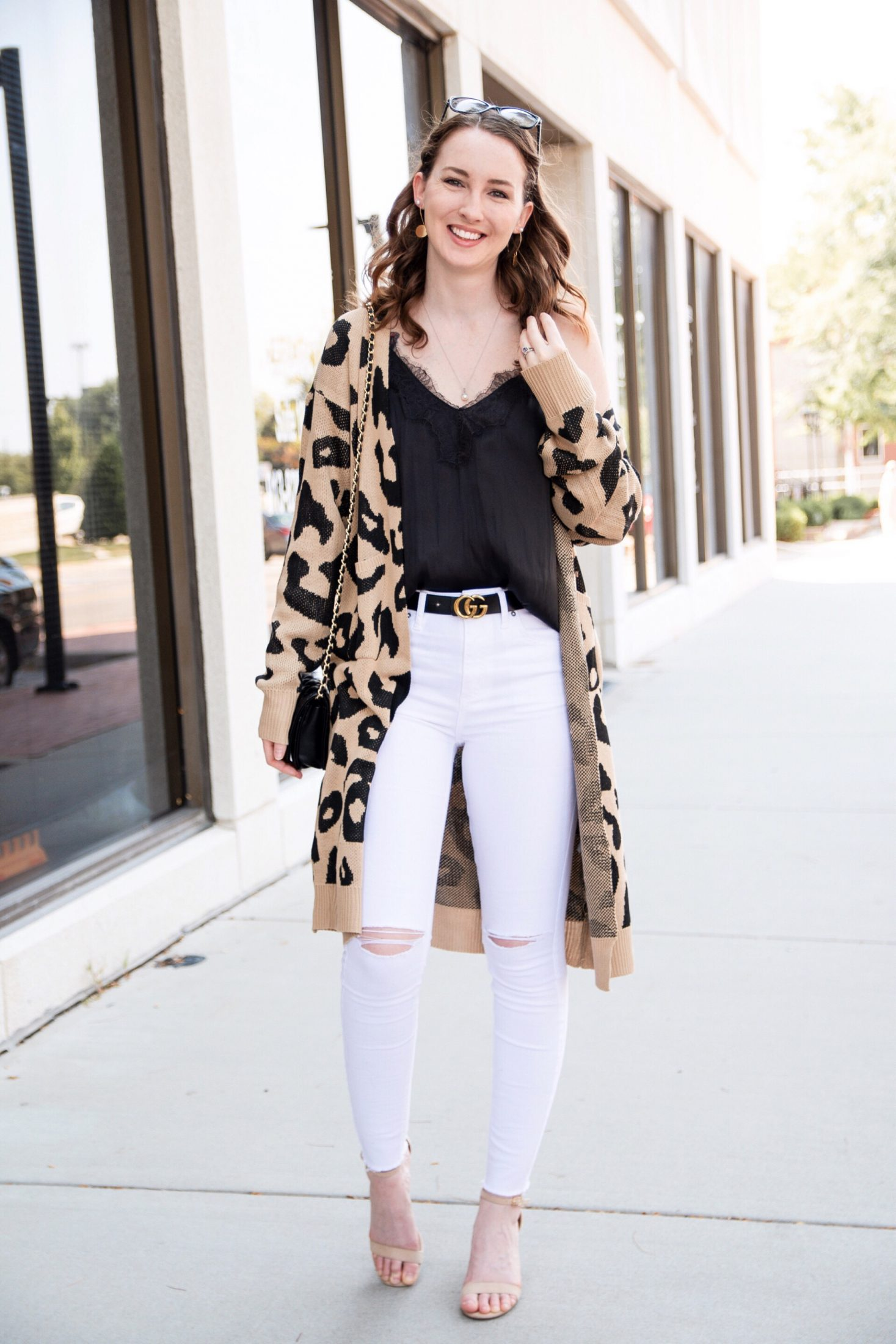 fall transitional outfit round up leopard cardigan black lace cami white ripped jeans