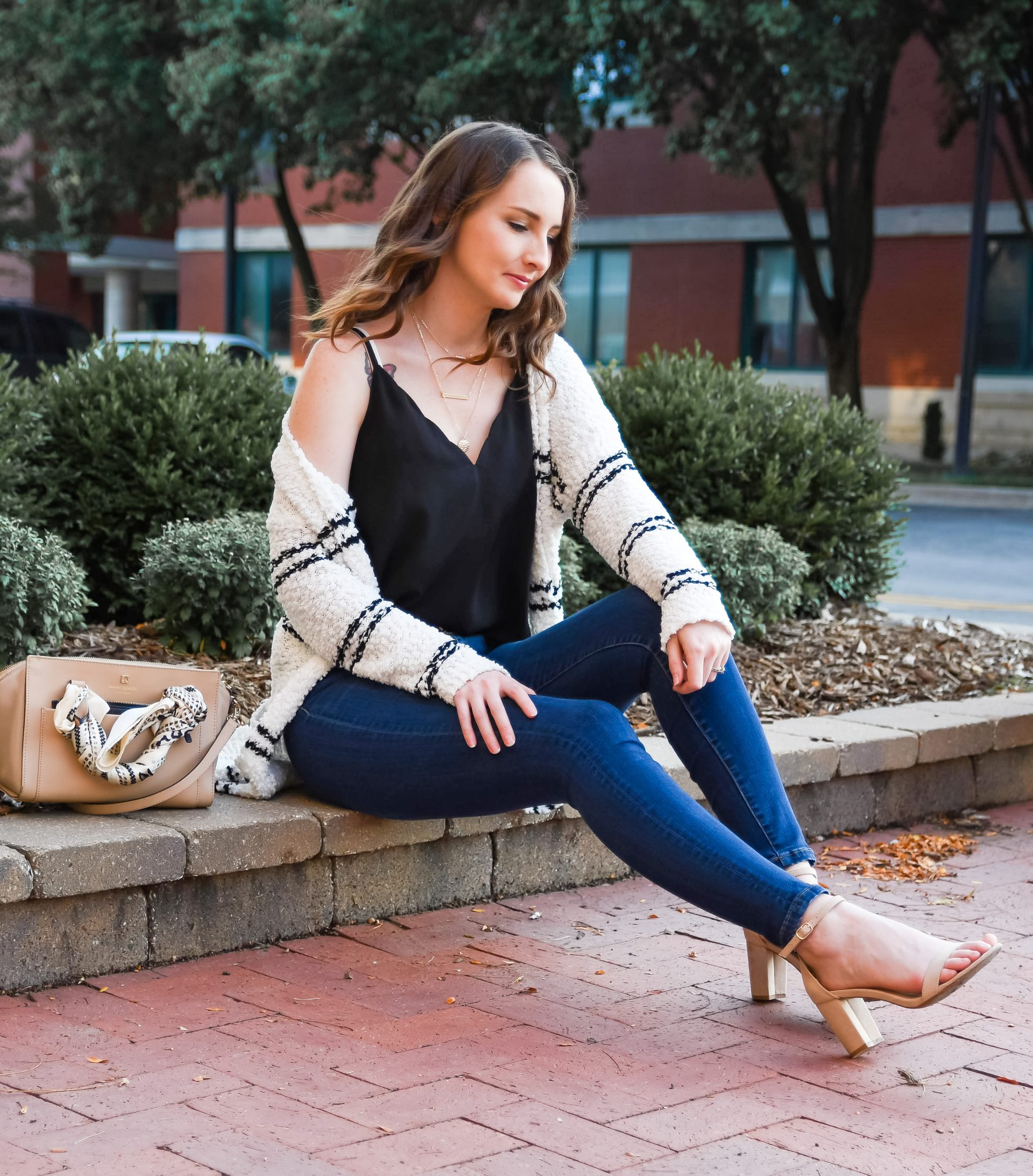 fall transitional outfit round up black scalloped cami striped cardigan