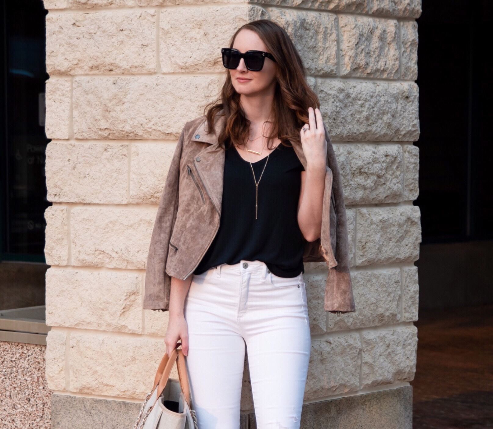 fall transitional outfit round up taupe suede moto jacket