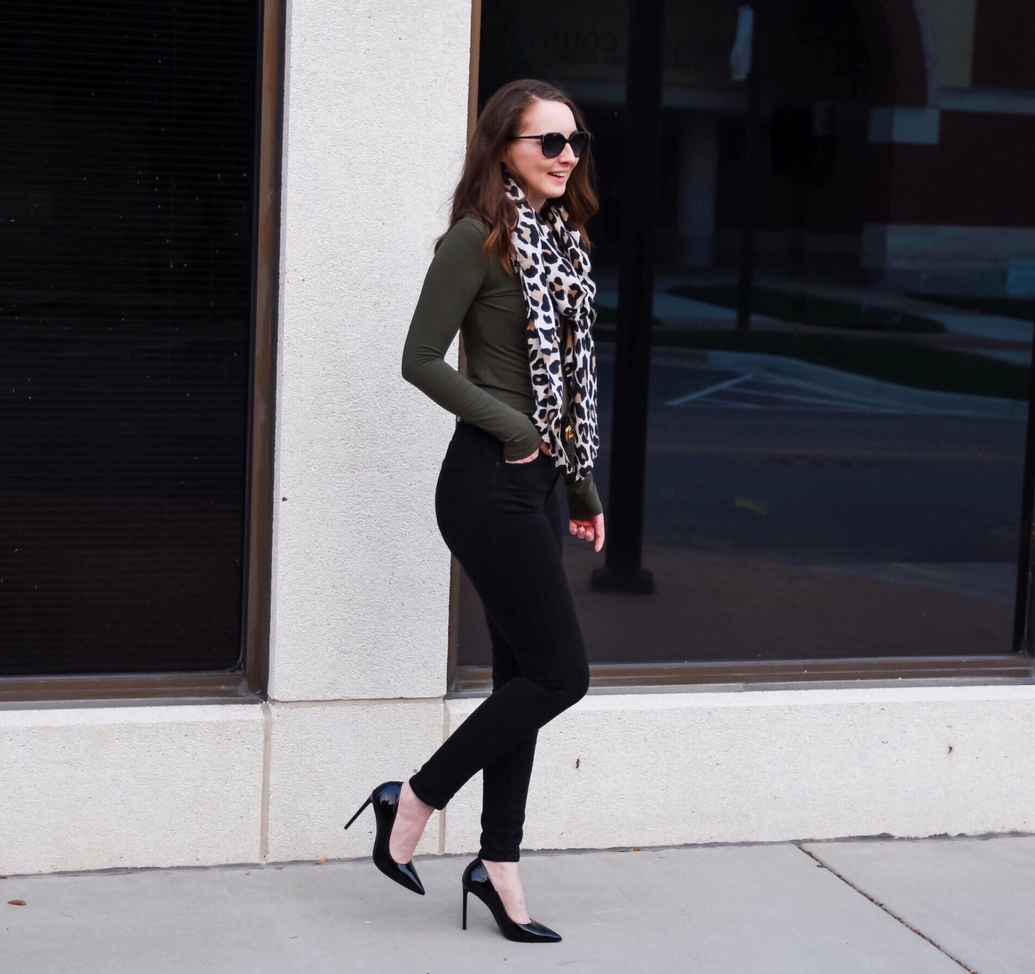 fall transitional outfit round up leopard scarf olive shirt