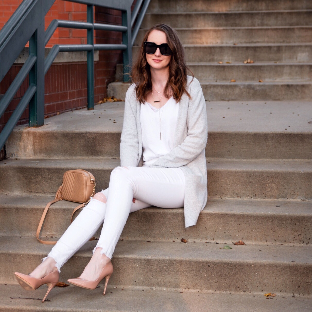 fall transitional outfit round up white cami white jeans grey cardigan