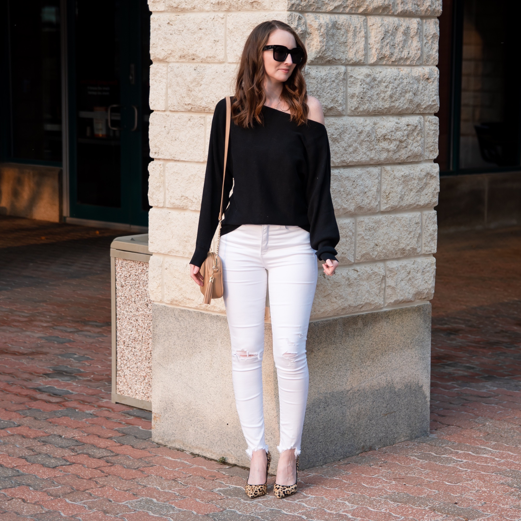 fall transitional outfit round up black ots sweater white jeans leopard heels